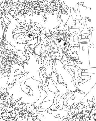 Malvorlage Einhorn Und Prinzessin Leinwandbilder Bilder Myloview De