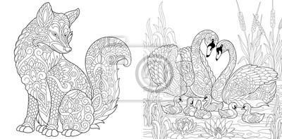 Malvorlage Erwachsenen Malbuch Wild Fox Tier Schwan Vögel
