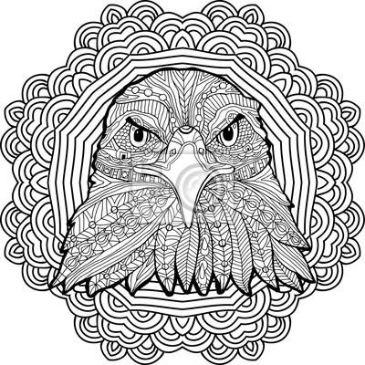 Bild Malvorlage Für Erwachsene Stern Adler Auf Dem Hintergrund Eines