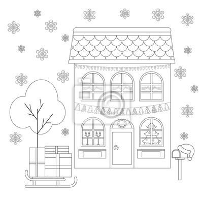 Bild Malvorlage Haus In Der Dekoration Von Weihnachten Schlitten