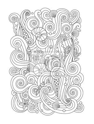 Muschel malvorlage  Malvorlage mit abstrakten meer-hintergrund wellen, muscheln ...