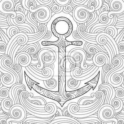 Malvorlage mit anker in wellen. zentangle inspirierte gekritzel-stil ...