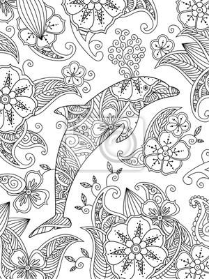 Malvorlage mit einem springen delphin auf floral background ...