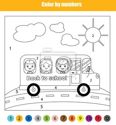 Malvorlage Mit Kindern Im Schulbus Farbe Nach Zahlen Kinder