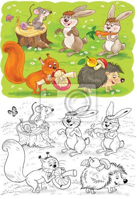 Malvorlage Mit Niedlichen Und Lustigen Waldtiere Leinwandbilder