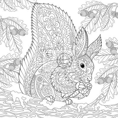 Malvorlage Von Eichhörnchen Sitzt Auf Eichenbaum Zweig Und Essen