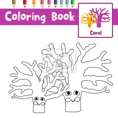 Malvorlage von gelb und lila korallen tiere für vorschule kinder ...