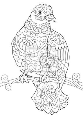 Malvorlage Von Taube Taube Vogel Sitzt Auf Baum Zweig Freehand