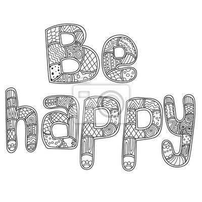 Bild Malvorlagen Für Erwachsene Buch Word Glücklich Zentangle Stilisiert
