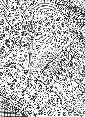 Malvorlagen In Doodle Abstrakten Stil Vector Kunst Für Erwachsene