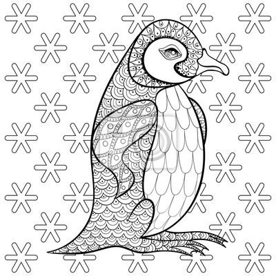 Bild Malvorlagen Mit König Pinguin Unter Schneeflocken Zentangle