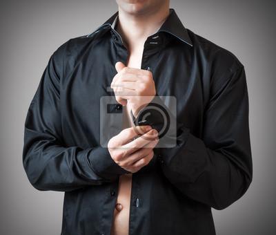 Man Buttons sleeve black shirt