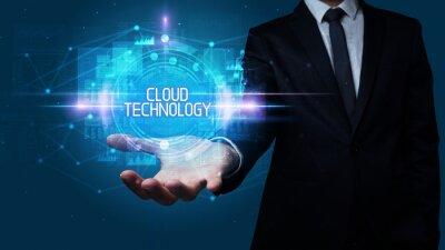 Man hand holding CLOUD TECHNOLOGY inscription, technology concept