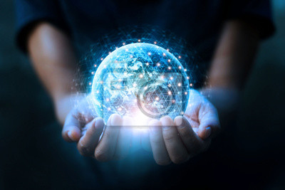 Bild Man hands holding blue earth and global networking connection and data exchanges, global communication network concept, Elements of this image furnished by NASA.