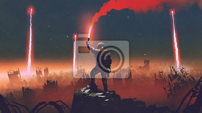 Bild man holds a red smoke flare up in the air and standing against the apocalypse world, digital art style, illustration painting