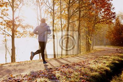 Bild Man läuft im Park am Herbstmorgen