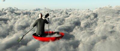 Bild Man paddeln durch Wolken in einem umgedrehten Regenschirm
