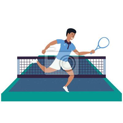 man playing tennis in sport court