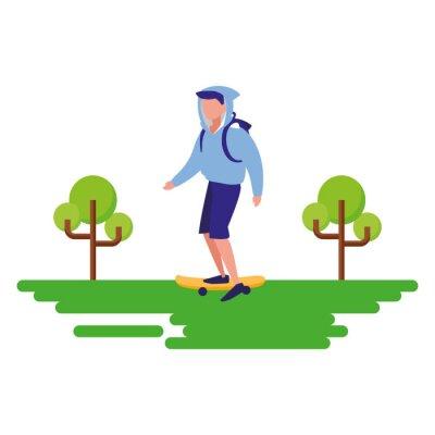 man riding skateboard outdoors image