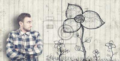 Man schaut auf eine Blume gezeichnet