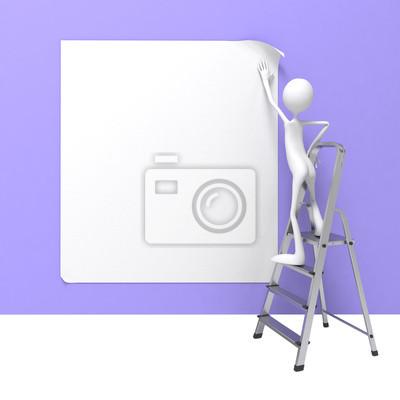 Man Standing on Ladder Fixes Banner an der Wall.