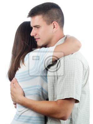 Man tröstet seine Freundin isoliert auf weiß