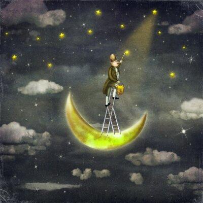 Man zieht Sterne an der Spitze der hohen Leiter in dunklen Himmel