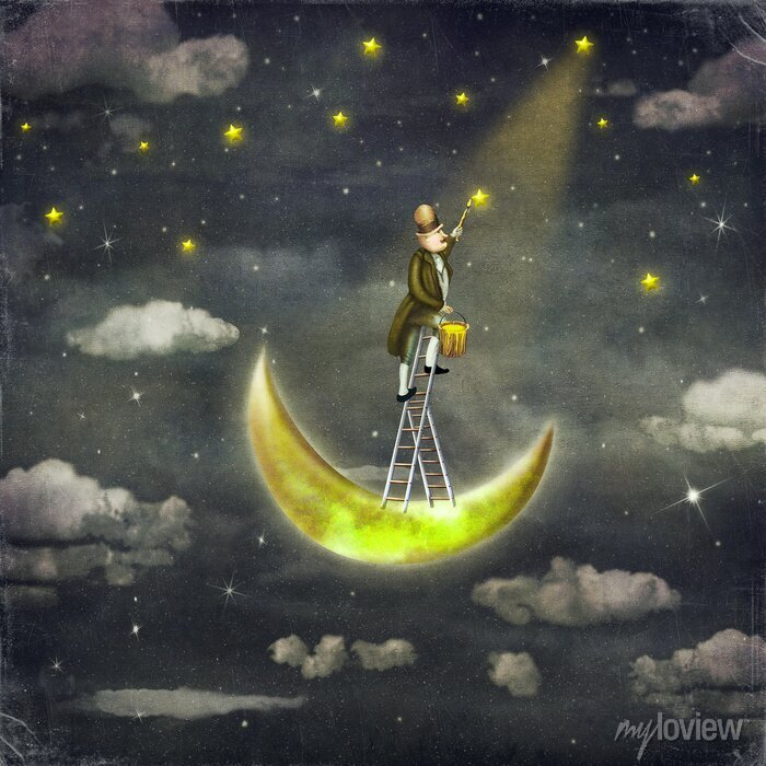 Bild Man zieht Sterne an der Spitze der hohen Leiter in dunklen Himmel