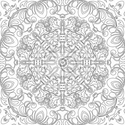 Mandala Nahtlose Blumenmuster Mit Blumen Und Herzen Ausmalbilder