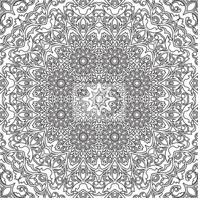 Bild Mandala Nahtlose Blumenmuster Mit Blumen Und Herzen Malvorlagen