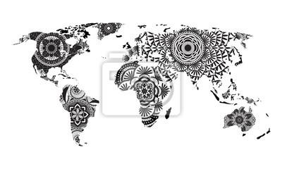 Mandala Weltkarte Vektor Leinwandbilder Bilder Mandala
