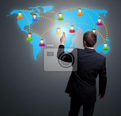Mann Hand drücken Social Network-Symbol