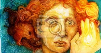 Mann mit roten Haaren, detaillierte bunte Grafik, Zier