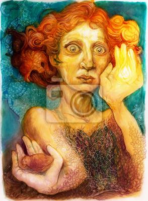Mann mit roten Haaren, detaillierte Farbgrafik, ornamental portrait