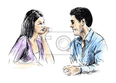 Mann und Frau miteinander reden. Vektor-Illustration