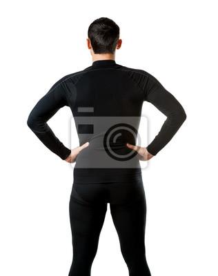 Männliche schwarze Thermo-Unterwäsche, Blick zurück