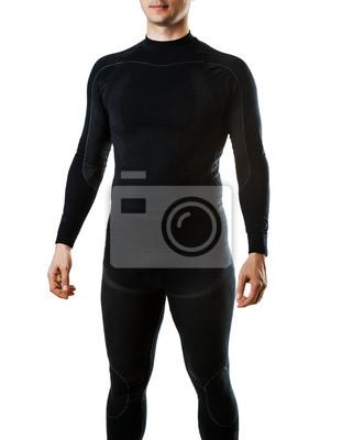 Männliche schwarze Thermo-Unterwäsche für aktiven Sport