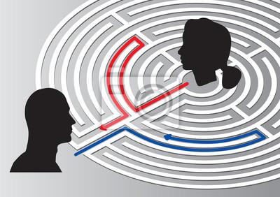 Männliche und weibliche Kopf Silhouette mit Labyrinth auf grauem backgroun
