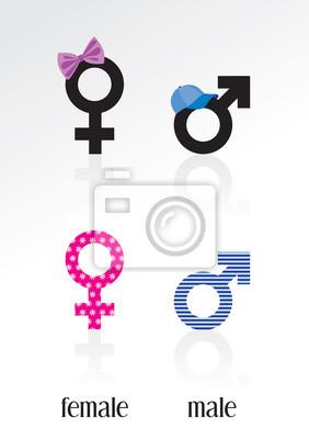 Männliche und weibliche Zeichen; 2 Sätze von Icons