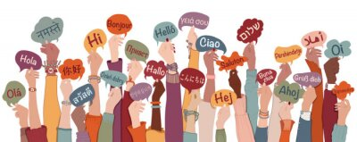 Bild Many arms raised of diverse and multi-ethnic people holding speech bubbles with text -hallo- in various international languages. Diversity people.Racial equality.Sharing and collaboration