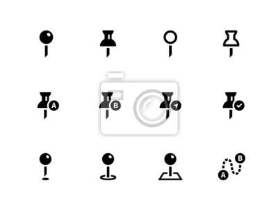 Mapping Pin-Symbole auf weißem Hintergrund.