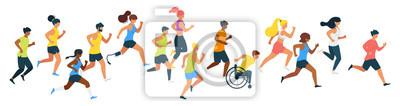 Bild Marathon runners flat vector illustration