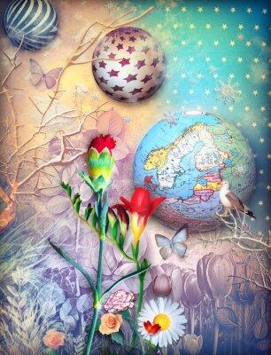 Märchen Hintergrund mit fleld von farbigen Blumen