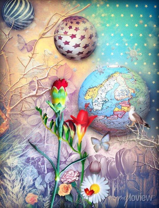 Bild Märchen Hintergrund mit fleld von farbigen Blumen