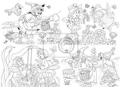 Märchen. malbuch. malvorlage. illustration für kinder. lustige