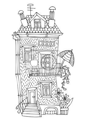 Sonnenschirm malvorlage  Märchenhaus mit terrasse und sonnenschirm. hand gezeichnete bild ...