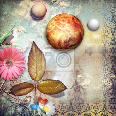 Märchenland mit bunten Blumen