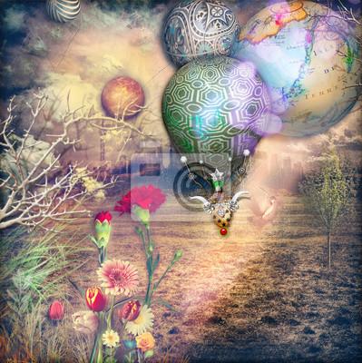 Märchenland mit Heißluftballon und roten Nelken