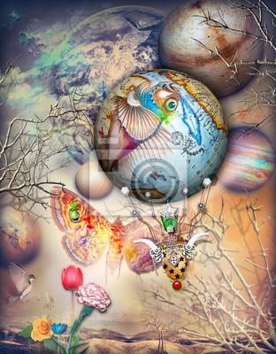 Märchenland mit Schmetterling und Heißluftballon
