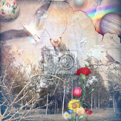 Märchenwald mit Regenbogen und farbigen Blumen
